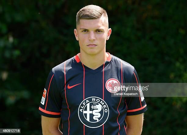 Enis Bunjaki poses during the Eintracht Frankfurt team presentation on July 15 2015 in Frankfurt am Main Germany