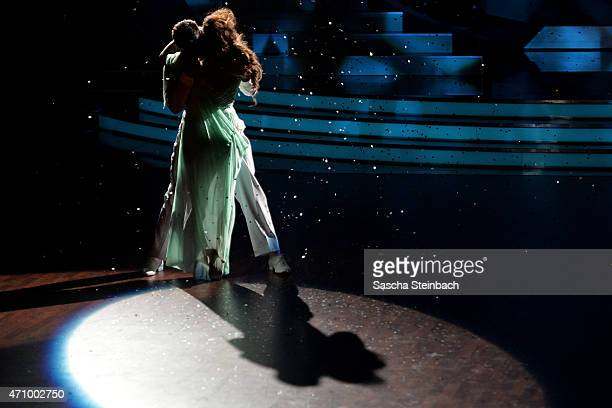 Enissa Amani and Chirstian Polanc perform on stage during the 6th show of the television competition 'Let's Dance' on April 24 2015 in Cologne Germany