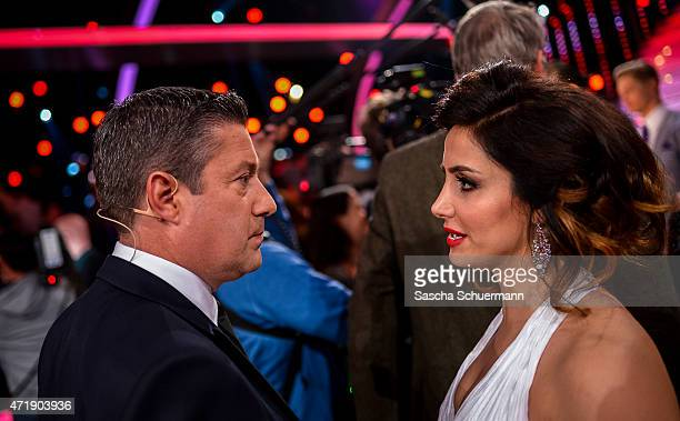 Enissa Amani and Juror Joachim Llambi react during the 7th show of the television competition 'Let's Dance' on May 1 2015 in Cologne Germany