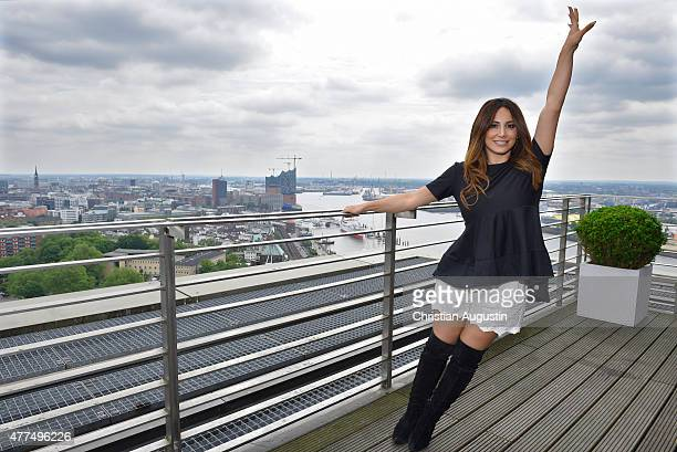 Enissa Amani attends the presentation of the dancing fitness concept at the Elbpanorama on June 17 2015 in Hamburg Germany