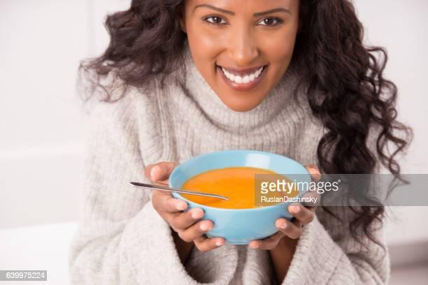 Enjoy hot soup at winter.