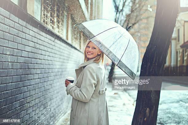 Ich Genießen Sie Spaziergänge im Regen