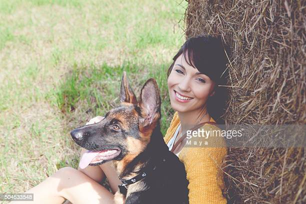 Enjoy with puppy outdoor