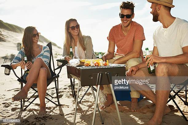 Enjoying a beach barbeque