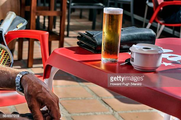 Enjoying a cold beer