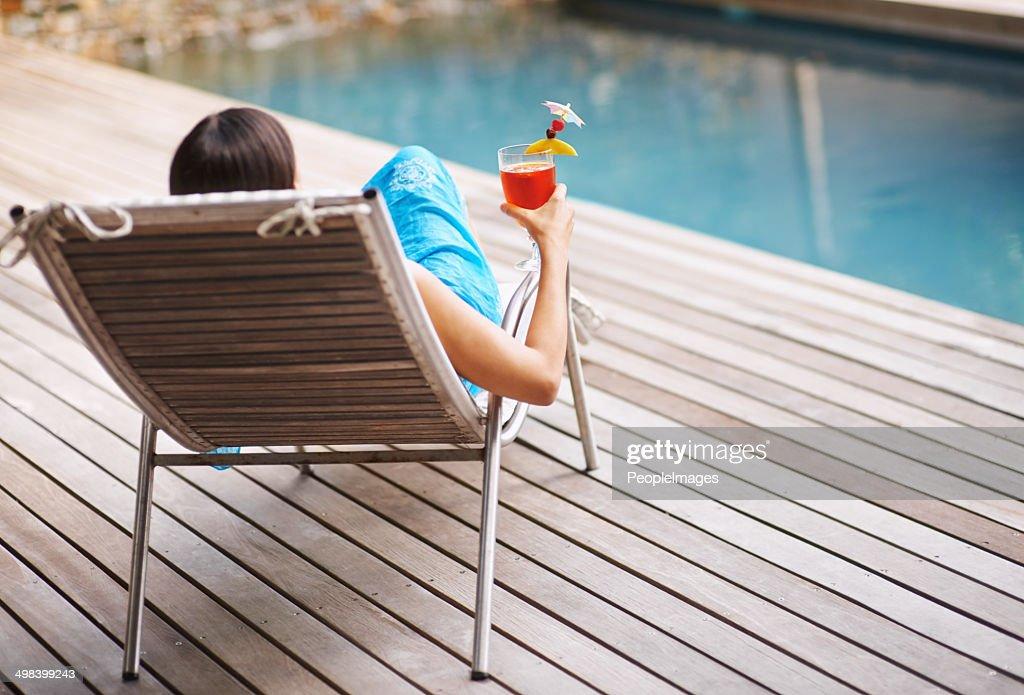Enjoying a drink on the pool deck