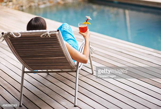 Enjoying a drink on the pool deck