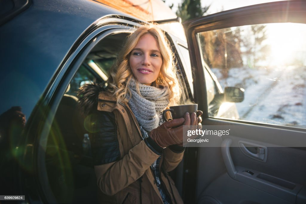 Enjoying a good smell of coffee : Stock Photo