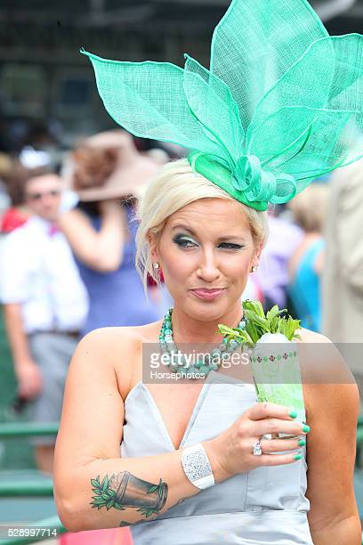 Enjoying a mint julep on Derby Day on May 7 2016 at Churchill Downs in Louisville Kentucky