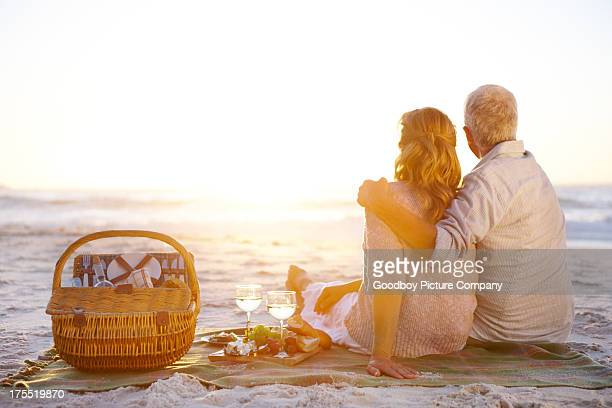 Enjoying a romantic picnic together
