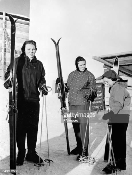 Enjoying a winter sports holiday at St Anton Austria are three Dutch royals Princess Beatrix Princess Irene and Princess Margriet seen leaving the...