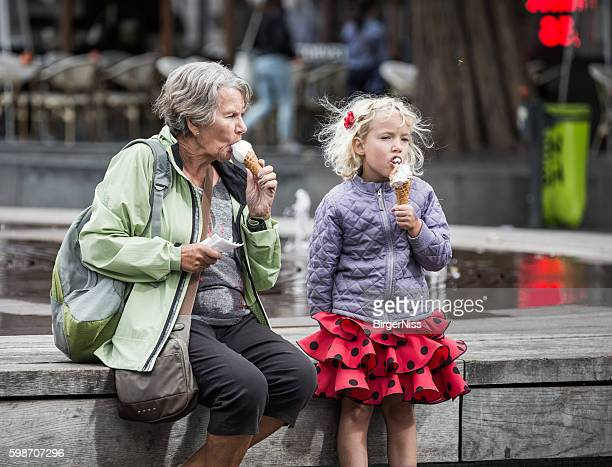 Enjoying an ice cream with granny, Copenhagen, Denmark