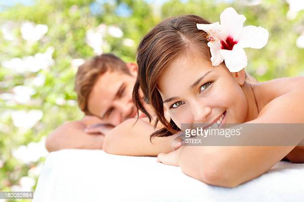 Enjoying being pampered together