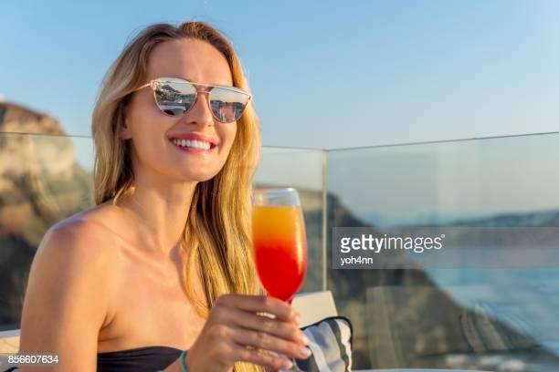 Enjoying fresh drink