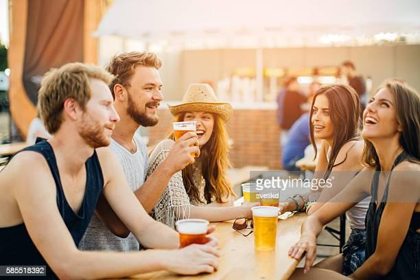 Enjoying good company and beer