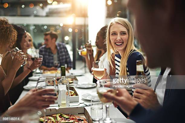 Enjoying good food and great company