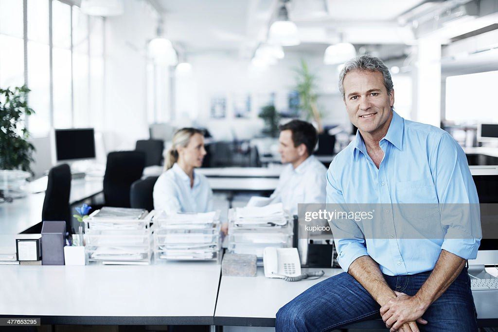 Enjoying his work environment