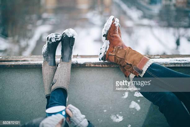 Genießen Sie im winter Tag