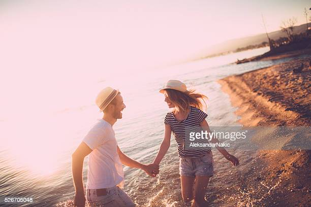 Enjoying in love and sunset
