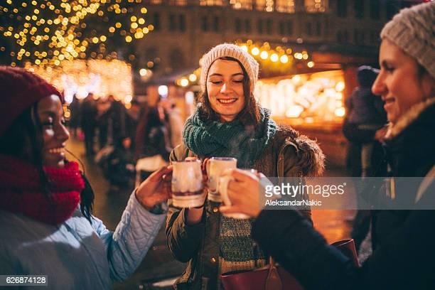 Enjoying mulled wine on Christmas market