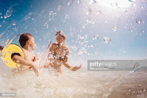 Enjoying sea water