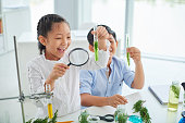 Cheerful children looking at plants in test-tubes