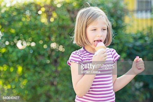 Enjoying the ice cream