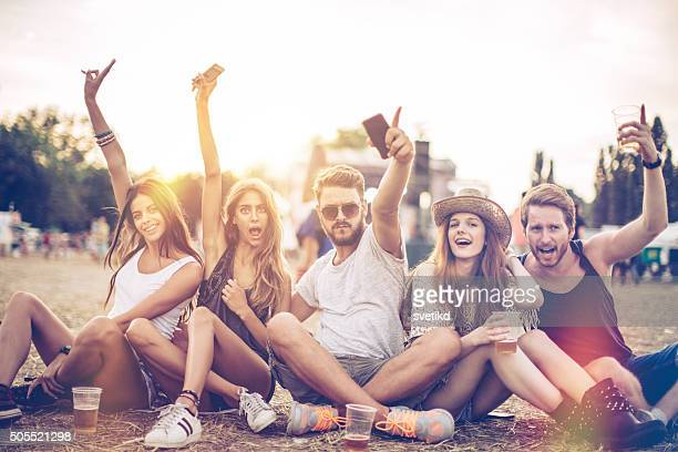 Enjoying the music festival