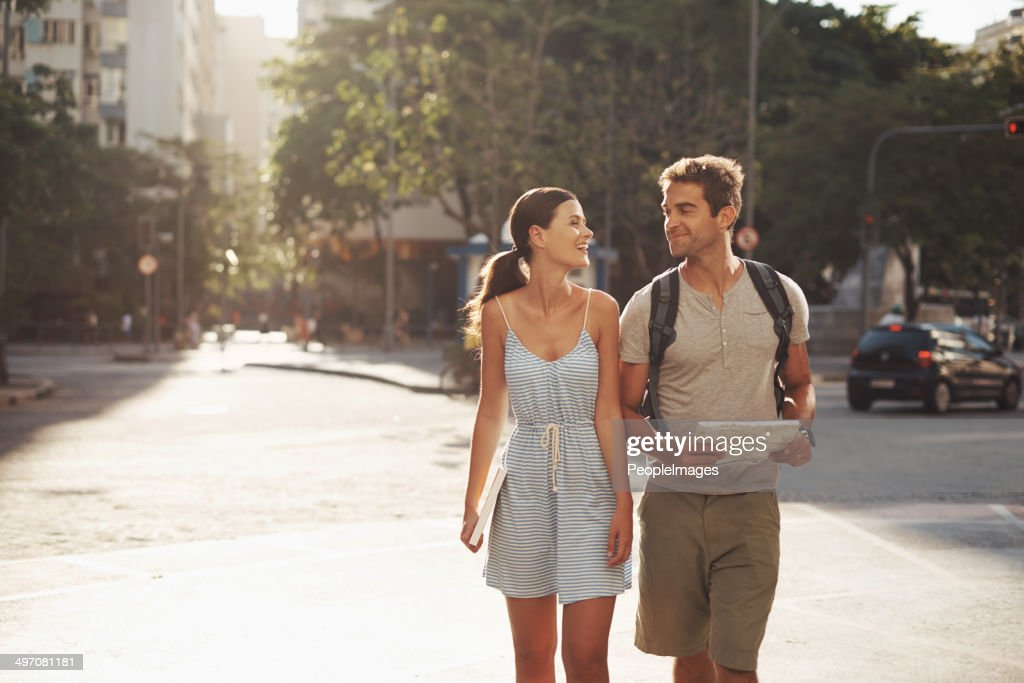 Enjoying the sights on their vacation : Stock Photo