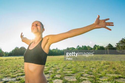 Enjoying the sun after workout : Stock Photo