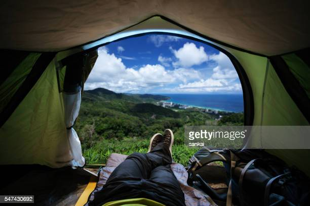 Enjoying the view from the tent