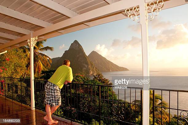 Enjoying view of St. Lucia Twin Pitons at sunset