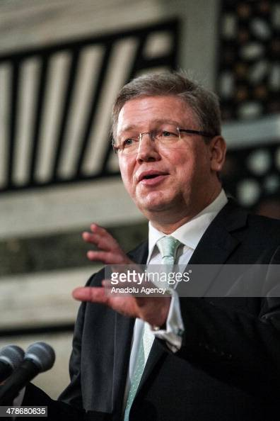 Enlargement and European Neighbourhood Policy Commissioner Stefan Füle speaks during the press conference following the meeting with Prime Minister...