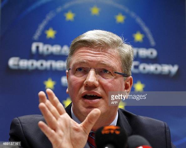 EU Enlargement Commissioner Stefan Fuele talks on February 13 2014 during a press conference in Kiev Fuele on February 13 called on Ukraine to take...