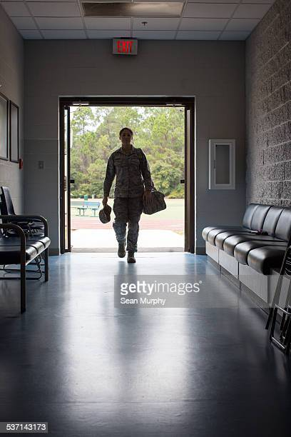 Enlisted Female Airforce Soldier in Hallway