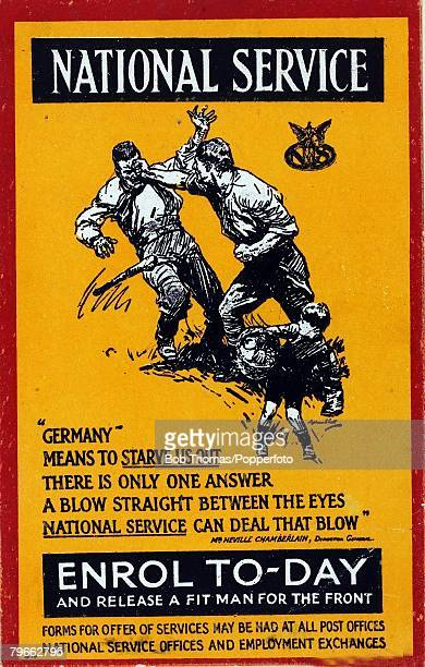 Enlistment World War I Circa 1916 Card produced to encourage National Service in the fight against Germany from the office of Director General...