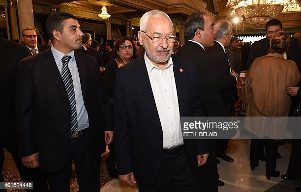Ennahdha Islamist Party Leader Rached Ghannouchi looks on during an event in Tunis on January 14 marking the fourth anniversary of the ousting of...