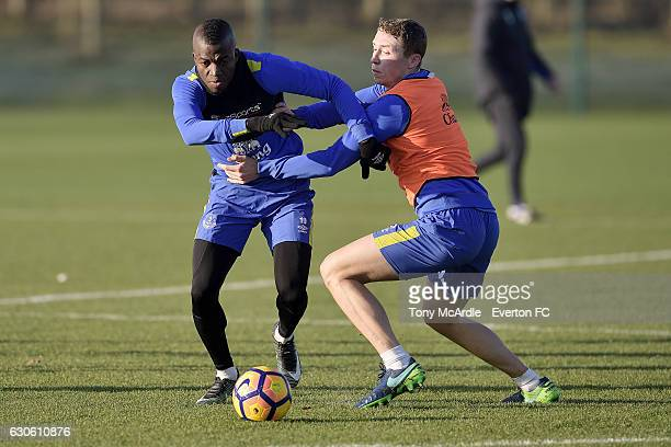 Enner Valencia and Matthew Pennington challenge for the ball during the Everton FC training session at Finch Farm on December 28 2016 in Halewood...