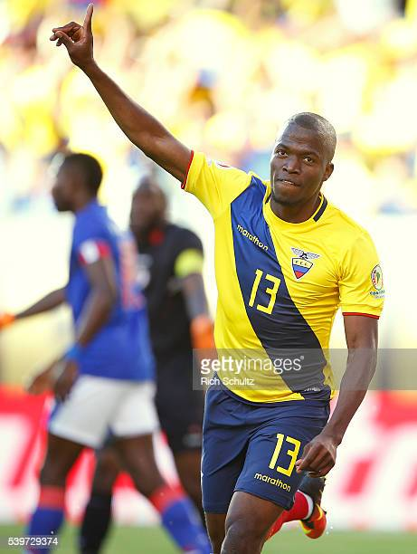 Enner Valencia of Ecuador celebrates after scoring the opening goal during a group B match between Ecuador and Haiti at MetLife Stadium as part of...