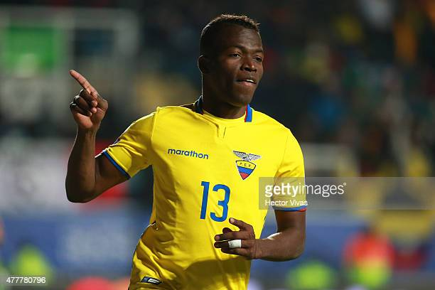 Enner Valencia of Ecuador celebrates after scoring the second goal of his team during the 2015 Copa America Chile Group A match between Mexico and...
