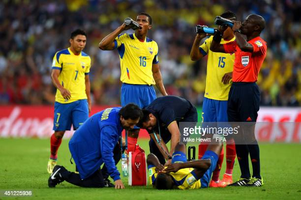Enner Valencia of Ecuador lies injured during the 2014 FIFA World Cup Brazil Group E match between Ecuador and France at Maracana on June 25 2014 in...