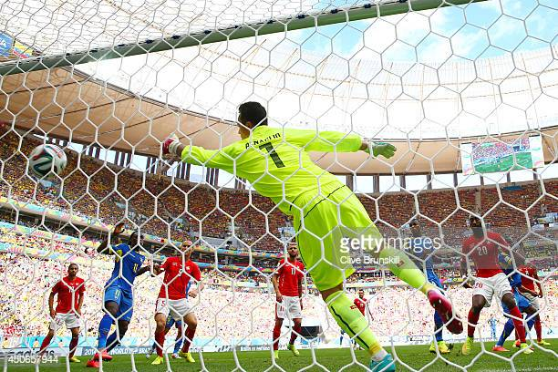 Enner Valencia of Ecuador scores his team's first goal on a header past Diego Benaglio of Switzerland during the 2014 FIFA World Cup Brazil Group E...