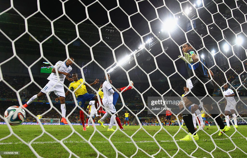 Enner Valencia of Ecuador scores his team's second goal past Noel Valladares of Honduras during the 2014 FIFA World Cup Brazil Group E match between Honduras and Ecuador at Arena da Baixada on June 20, 2014 in Curitiba, Brazil.