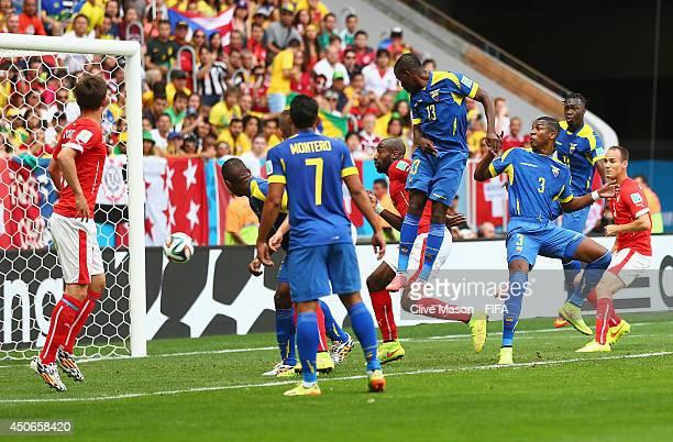 Enner Valencia of Ecuador scores the first goal during the 2014 FIFA World Cup Brazil Group E match between Switzerland and Ecuador at Estadio...