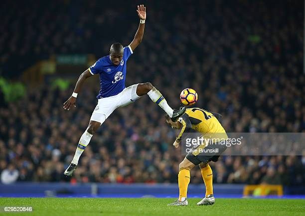Enner Valencia of Everton and Hector Bellerin of Arsenal compete for the ball during the Premier League match between Everton and Arsenal at Goodison...