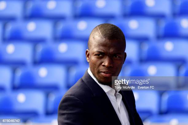 Enner Valencia of Everton arrives before the Premier League match between Everton and Chelsea at the Goodison Park on April 30 2017 in Liverpool...