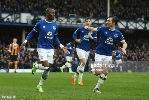 Enner Valencia of Everton celebrates as he scores their second goal with Leighton Baines of Everton during the Premier League match between Everton...