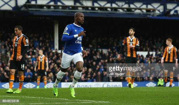 Enner Valencia of Everton celebrates as he scores their second goal during the Premier League match between Everton and Hull City at Goodison Park on...