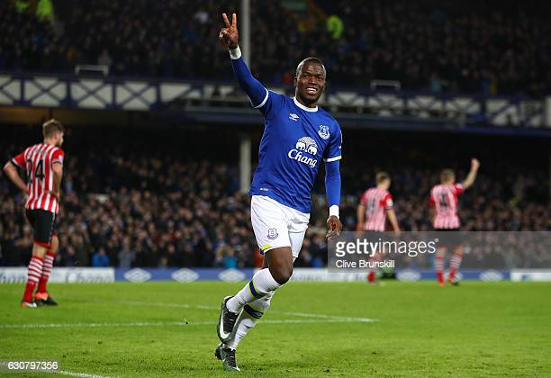 Enner Valencia of Everton celebrates scoring his sides first goal during the Premier League match between Everton and Southampton at Goodison Park on...