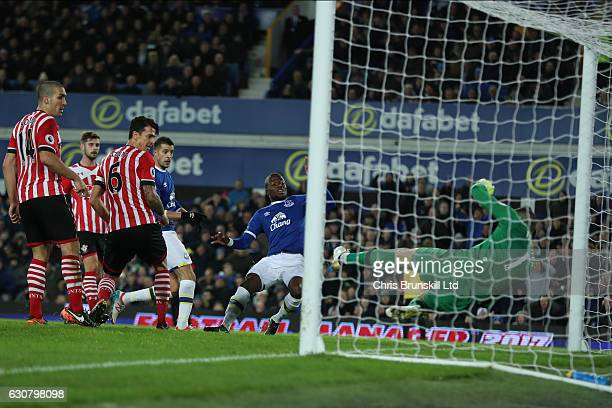 Enner Valencia of Everton scores to make it 10 during the Premier League match between Everton and Southampton at Goodison Park on January 2 2017 in...